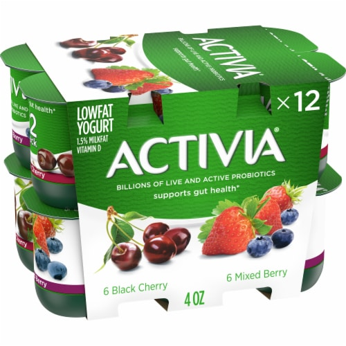 Activia Mixed Berry & Black Cherry Lowfat Probiotic Yogurt (12 Pack) Perspective: front