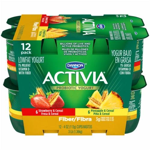 Dannon Activia Fiber Strawberry & Pineapple Yogurt 12 Count Perspective: front