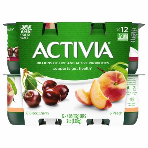 Dannon Activia Peach And Black Cherry Yogurt 12 Count Perspective: front