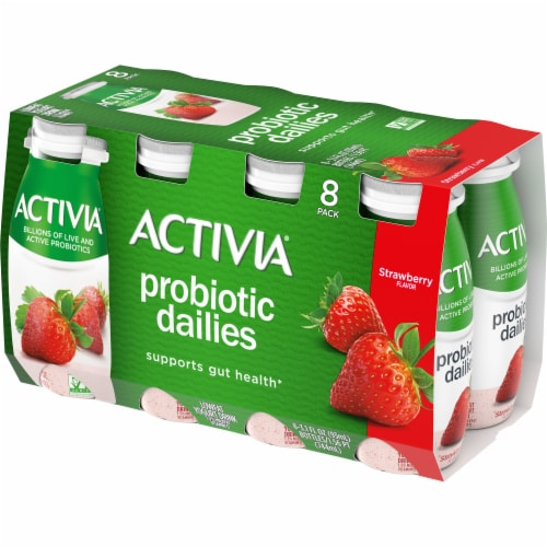 Activia Strawberry Probiotic Dailies Yogurt Drink Perspective: front