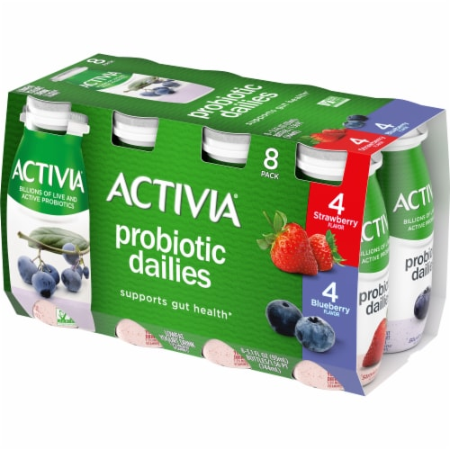Dannon Activia Probiotic Dailies Strawberry & Blueberry Lowfat Yogurt Drink Perspective: front