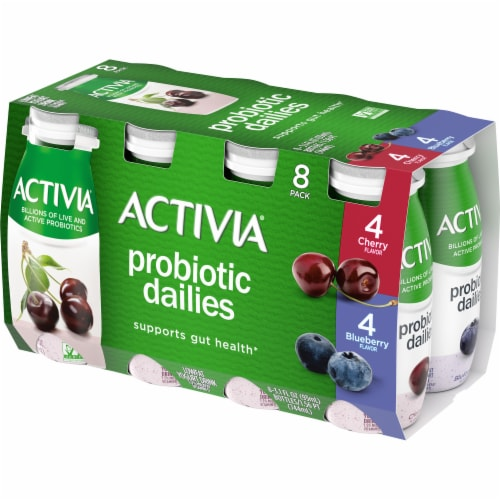 Activia Probiotic Dailies Cherry & Blueberry Lowfat Yogurt Drinks Perspective: front