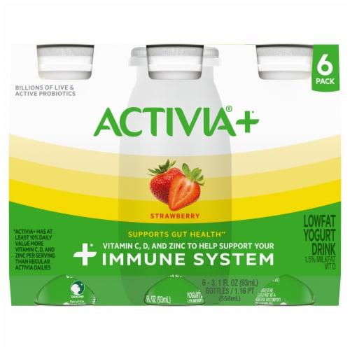 Activia®+ Strawberry Lowfat Yogurt Drink Perspective: front