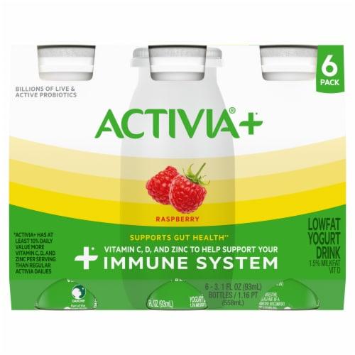 Activia®+ Raspberry Lowfat Yogurt Drink Perspective: front