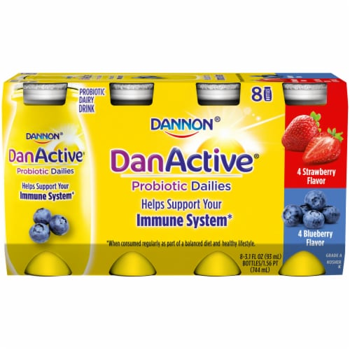 Dannon DanActive Strawberry & Blueberry Probiotic Daily Yogurt Drinks Perspective: front