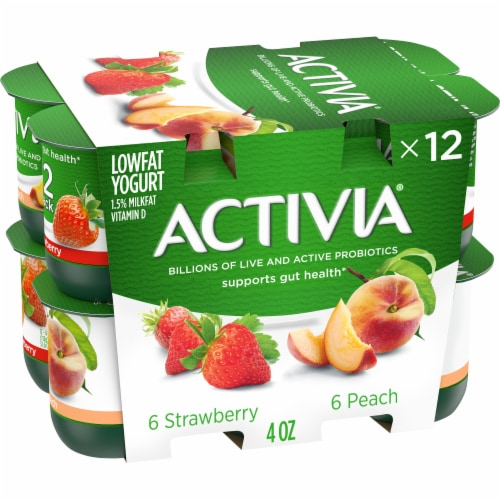 Activia Blended Strawberry & Peach Lowfat Probiotic Yogurt Perspective: front