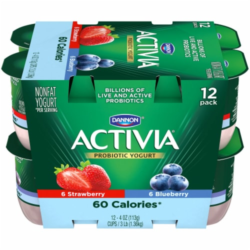 Dannon Activia Light Blueberry & Strawberry Yogurt 12 Count Perspective: front