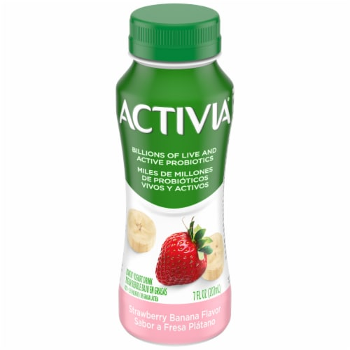 Activia Strawberry Banana Lowfat Probiotic Yogurt Drink Perspective: front