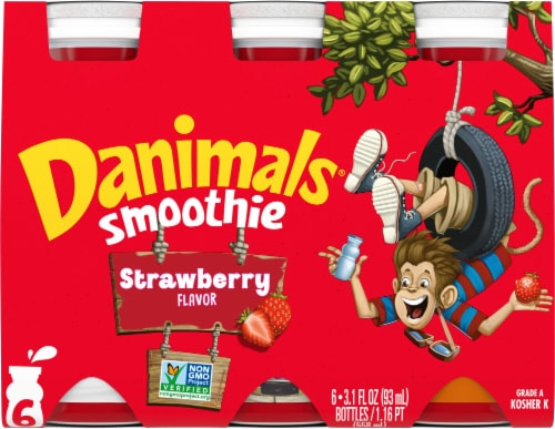 Danimals Strawberry Yogurt Smoothies (6 Pack) Perspective: front