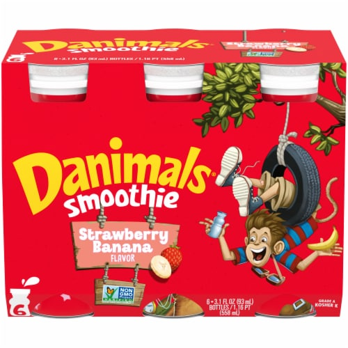 Danimals Swingin' Strawberry Banana Flavor Yogurt Smoothies Perspective: front