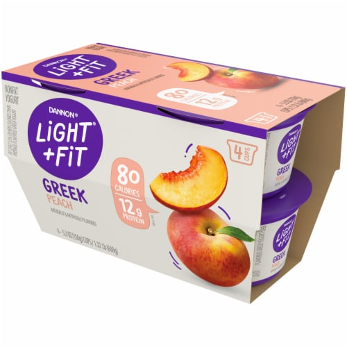 Dannon Light & Fit Peach Greek Nonfat Yogurt Perspective: front