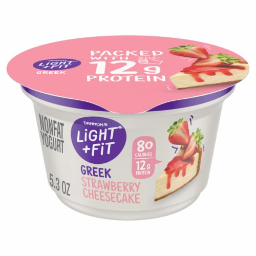 Dannon Light & Fit Strawberry Cheesecake Greek Yogurt Perspective: front