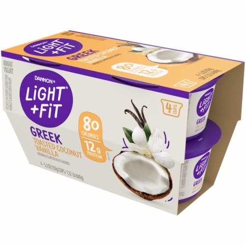 Dannon Light & Fit Toasted Coconut Vanilla Greek Nonfat Yogurt 4 Count Perspective: front