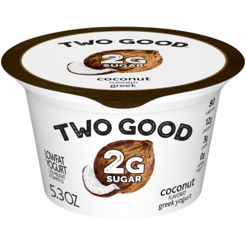 Two Good Coconut Flavored Lowfat Greek Yogurt Perspective: front