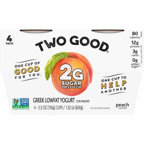 Two Good Peach Lowfat Greek Yogurt Perspective: front