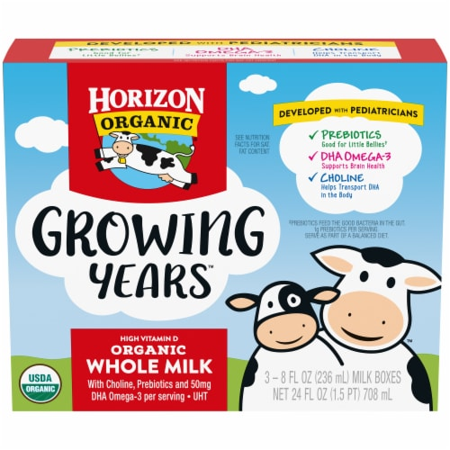 Horizon Organic® Growing Years Shelf-Stable Single-Serve Whole Milk Boxes with DHA Omega-3 Perspective: front
