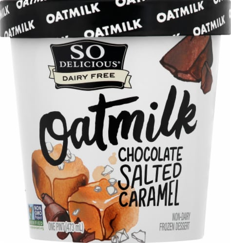 SO Delicious Oatmilk Chocolate Salted Caramel Dairy Free Frozen Dessert Perspective: front