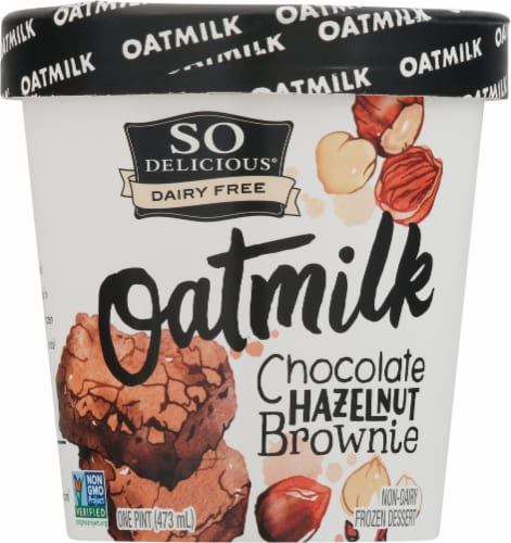 SO Delicious Oatmilk Chocolate Hazelnut Brownie Dairy Free Frozen Dessert Perspective: front