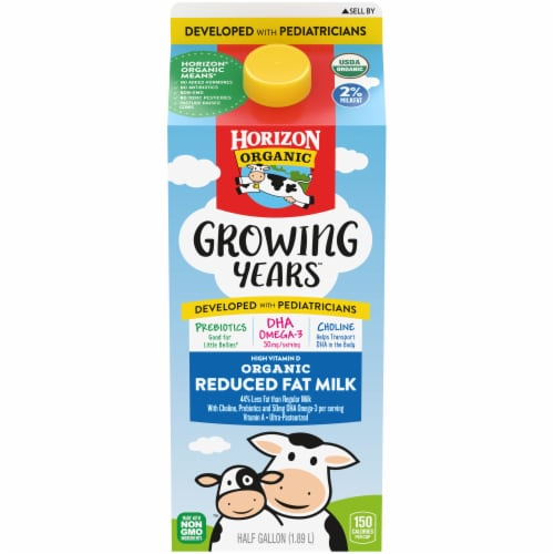 Horizon Organic Growing Years 2% Reduced Fat Milk Perspective: front