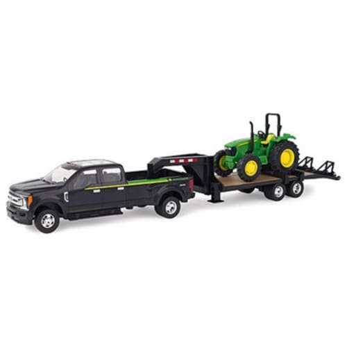 Tomy International 238325 1-32 Scale Tractor with Ford F-350 & Gooseneck Trailer Hauling Set Perspective: front