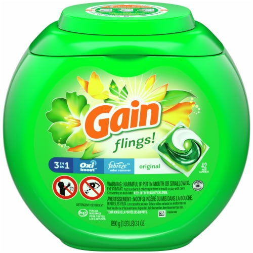 Gain Flings + Aroma Boost Original Scent 3-in-1 with Febreze Freshness Laundry Detergent Pacs Perspective: front