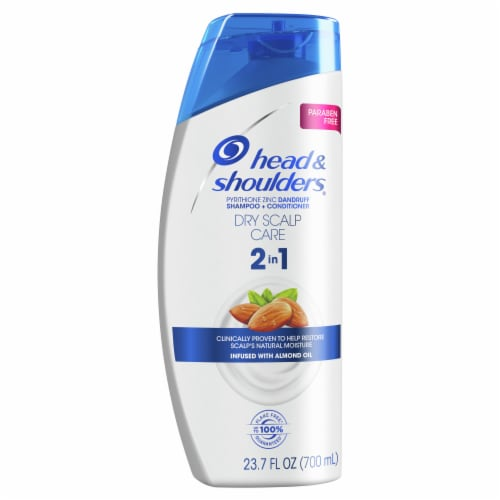 Head and Shoulders Dry Scalp Care w/Almond Oil 2in1 Anti-Dandruff Paraben Free Shampoo + Conditioner Perspective: front