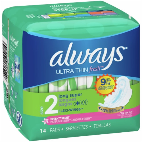 Always Ultra Thin Fresh Size 2 Long Super Fresh Scent Pads with Wings Perspective: front