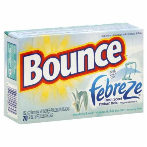 Bounce Meadow & Rain With Febreze Fresh Scent Dryer Sheets Perspective: front
