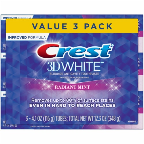 Crest 3D White Radiant Mint Fluoride Anticavity Toothpaste Value Pack Perspective: front