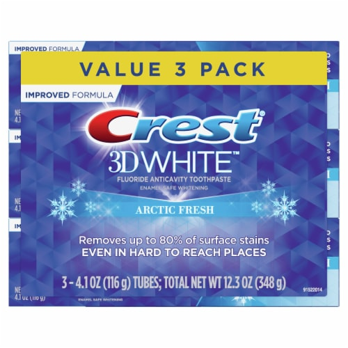 Crest 3D White Arctic Fresh Fluoride Anticavity Toothpaste Value Pack Perspective: front