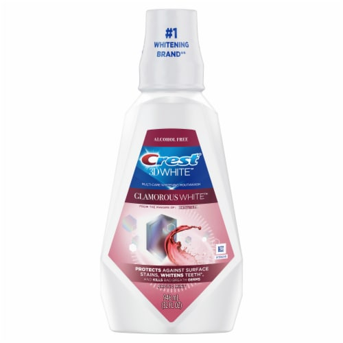 Crest 3D White Glamorous White Alcohol Free Multi-Care Whitening Mouthwash Arctic Mint Perspective: front