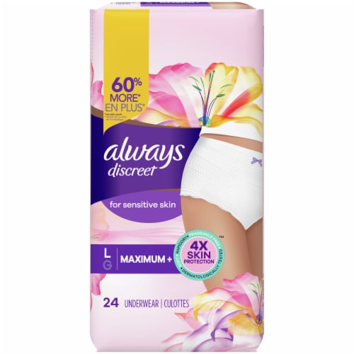 Always Discreet Sensitive Large Maximum Plus Absorbency Women's Incontinence Underwear Perspective: front