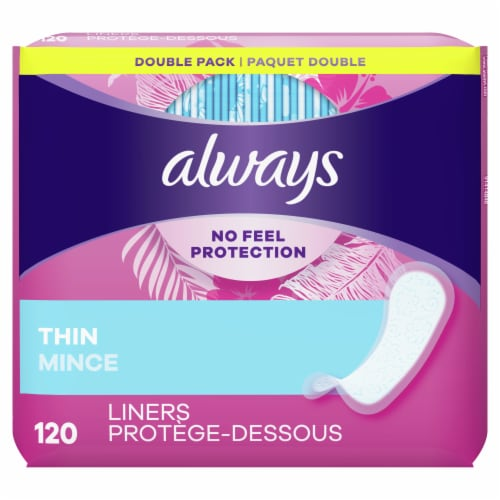 Always Thin Daily Liners Regular Unscented Wrapped Perspective: front