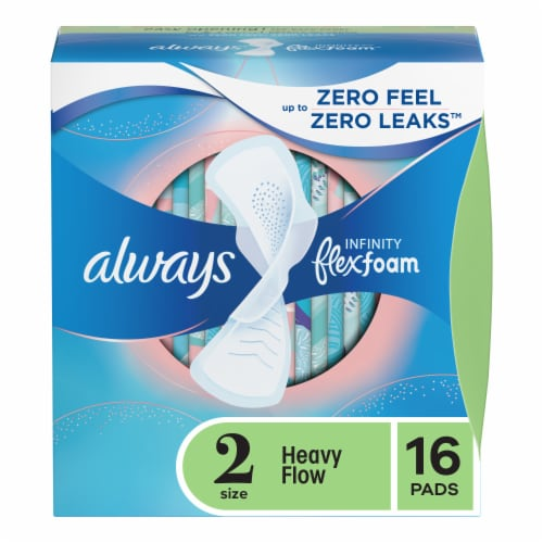 Always Infinity FlexFoam Size 2 Heavy Flow Unscented Pads with Wings Perspective: front