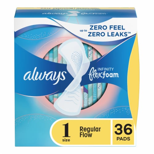 Always Infinity FlexFoam Size 1 Regular Flow Unscented Pads with Flexi-Wings Perspective: front