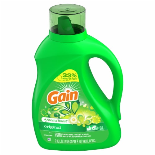 Gain Laundry Detergent Liquid Original Scent Plus Aroma Boost 64 Loads Perspective: front
