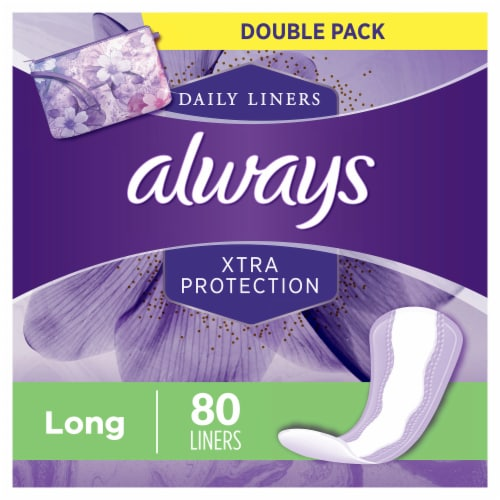 Always Xtra Protection Long Unscented Daily Liners Perspective: front