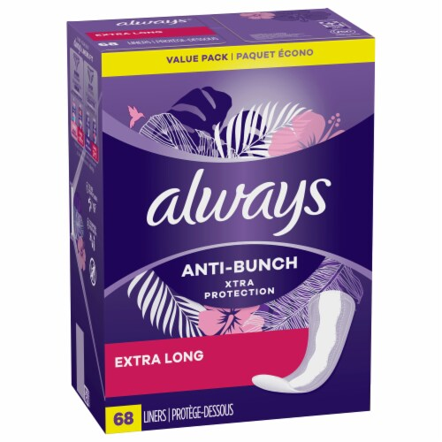 Always Xtra Protection Daily Liners Extra Long Unscented Perspective: front