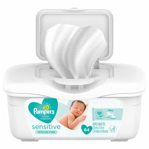 Pampers Sensitive Perfume Free Baby Wipes Perspective: front