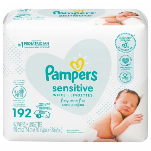 Pampers Sensitive Perfume Free Baby Wipes Refills (3 Pack) Perspective: front