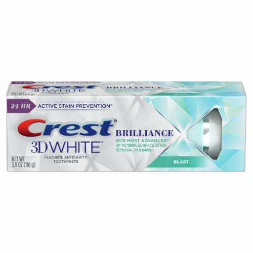 Crest 3D White Brilliance Blast Fluoride Anticavity Toothpaste Perspective: front
