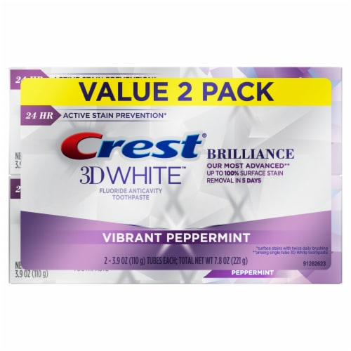Crest 3D White Brilliance Vibrant Peppermint Fluoride Anticavity Toothpaste Value Pack Perspective: front