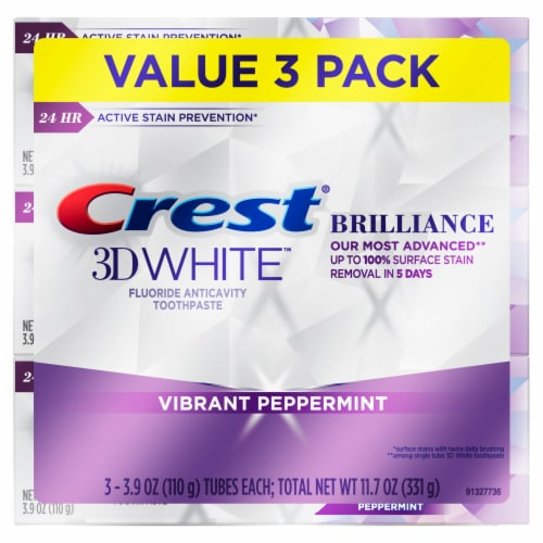 Crest 3D White Brilliance Vibrant Peppermint Toothpaste Perspective: front