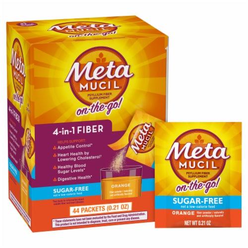 Metamucil Sugar Free Orange Smooth Fiber Powder Dietary Supplement Perspective: front
