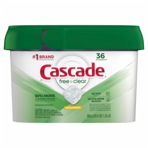 Cascade Free & Clear Lemon Essence Dishwasher Detergent ActionPacs Perspective: front
