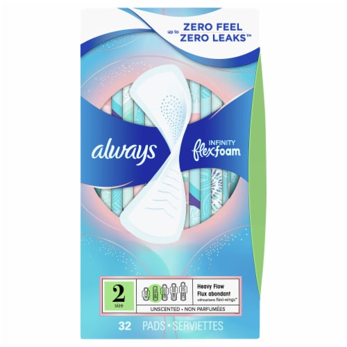 Always Infinity FlexFoam Size 2 Heavy Flow Unscented Pads Perspective: front