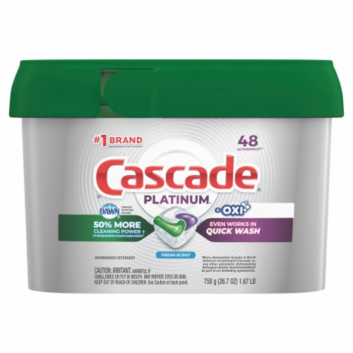 Cascade® Platinum™ Fresh Scent Dishwasher Detergent Actionpacs Perspective: front