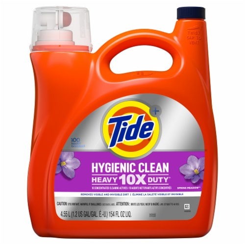 Tide Hygienic Clean Spring Meadow Heavy Duty Liquid Laundry Detergent Perspective: front