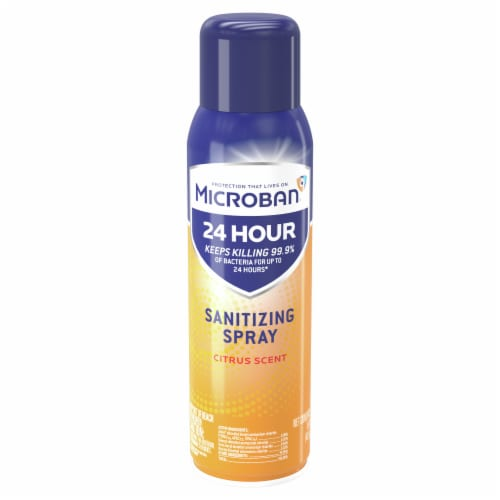 Microban Citrus Scent 24 Hour Sanitizing Spray Perspective: front
