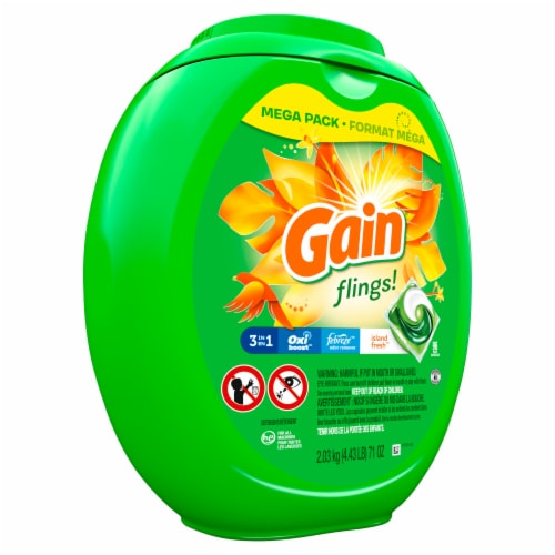 Gain Flings Island Fresh 3-in-1 Laundry Detergent Pacs Perspective: front